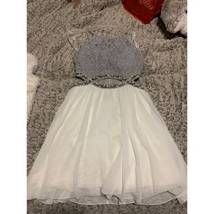 Grey and white sparkly halter dress